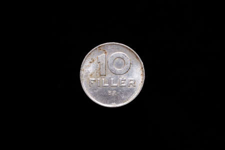 Old Hungarian People's Republic 10 Filler coin from 1978, reverse. Isolated on black background