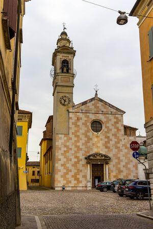 SABBIONETA, ITALY - MAY 28, 2018: Sabbioneta, Province of Mantua, Lombardy, Italy streetscape with the Church of Santa Maria Assunta Editorial