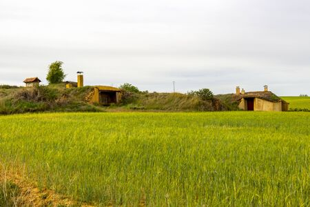 Neglected traditional bodegas in San Nicolas del Real Camino, Province of Palencia, Castile and Leon, Spain on the Way of St. James, Camino de Santiago