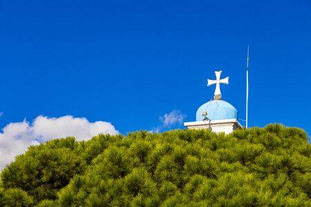 Orthodox Church of the Monastery of St. Nicholas in Lake Vistonida, Porto Lagos, Xanthi regional unit, Greece, bell tower partial view against the sky 版權商用圖片