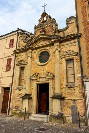 FANO, ITALY - MAY 30, 2018: Church of San Silvestro facade in Fano, Province of Pesaro and Urbino, Marche Region, Italy
