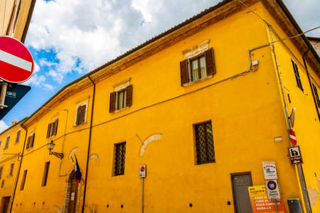CINGOLI, ITALY - MAY 31, 2018: Comune di Cingoli, Ufficio Anagrafe or the Registry Office beautiful old building in Marche Region, Province of Macerata, Italy