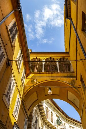 Beautiful low-angle street view of the Passetto in Fermo, Province of Fermo, Marche Region, Italy