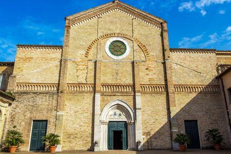 Sunlit facade view of Pesaro Cathedral or Cattedrale di Santa Maria Assunta in Pesaro, Province of Pesaro and Urbino, Marche Region, Italy