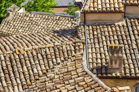 Typical building rooftop with a chimney in Fermo, Province of Fermo, Marche Region, Italy