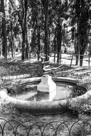 CASTELFIDARDO, ITALY - JUNE 01, 2018: Female statue at Parco delle Rimembranze, public park in Castelfidardo, Ancona Province, Marche Region, Italy. Black and white photography