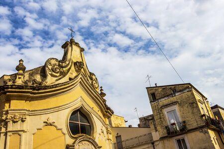 The beautiful 18th-century Church of Madonna dei Martiri in Altamura, Apulia, Italy, exterior high section partial view