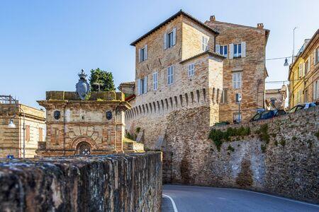 Via Goffredo Mameli or Goffredo Mameli streetscape with old architecture in Fermo, Province of Fermo, Marche Region, Italy