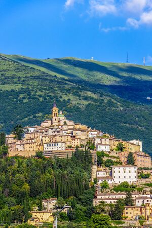 Scenic sunny Trevi mountain view in Trevi, Province of Perugia, Umbria Region, Italy