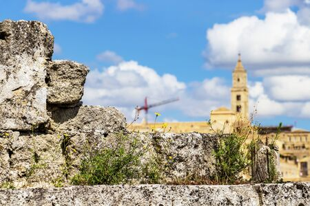 Old weathered overgrown stone fence against the blurred Matera Cathedral or Cathedral of Santa Maria della Bruna e di Sant'Eustachio bell tower in the Province of Matera, Basilicata Region, Italy 免版税图像
