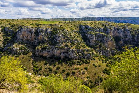 Matera canyon scenic panoramic view, in the Province of Matera, Basilicata Region, Italy