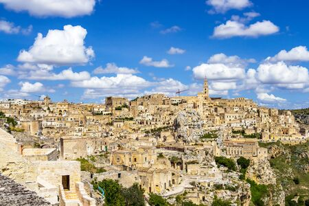 Scenic panoramic sunny summer view of Matera, Province of Matera, Basilicata Region, Italy