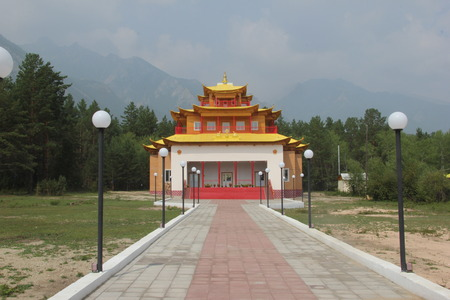 Beautiful modern Buddhist temple in Barguzinsky valley near Lake Baikal. Buryatia, Russia Imagens