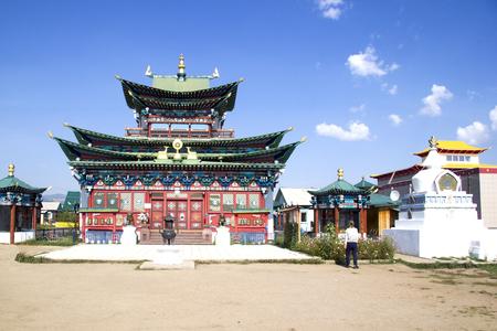 Beautiful modern Buddhist temple in the Ivolginsky datsan near Ulan-Ude. Buryatia, Russia