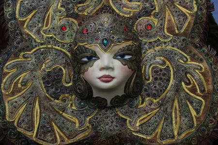 Ulan-Ude, Buryatia, Russia. Exhibition and sale of Russian and Buryat folk Souvenirs Crafts Fair. souvenir mask Editoriali