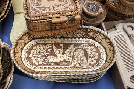 Ulan-Ude, Buryatia, Russia. Exhibition and sale of Russian and Buryat folk Souvenirs Crafts Fair. Birch bark products
