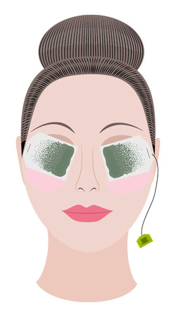 sachets: Beautiful woman relaxes her eyes with sachets of green tea Illustration