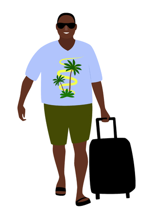 Tanned happy tourist in sunglasses comes with a suitcase isolated on white background vector illustration. Illustration