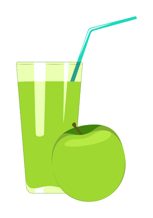 Apple juice in glass is isolated on a white background. Fruit juice vector illustration.