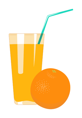 Orange juice in glass is isolated on a white background. Fruit juice vector illustration.