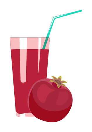 Pomegranate juice in glass is isolated on a white background. Illusztráció