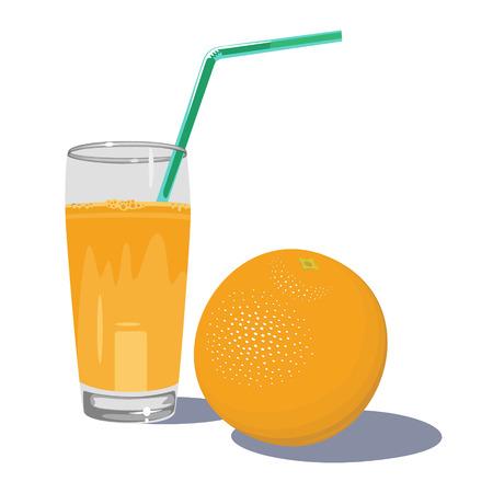 Fresh orange juice in glass with fruits isolated on white background. Fruit juice vector illustration.