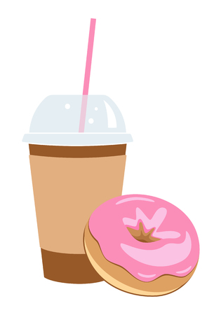 Coffee and donut. Stock Illustratie