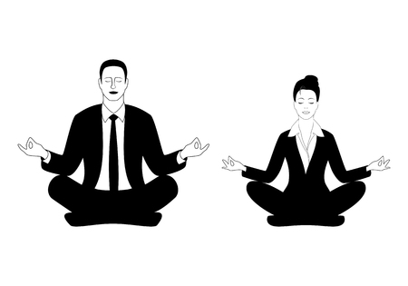 Business Man and Business Woman Sitting in the Padmasana Lotus Pose. Office Worker Meditating, Doing Yoga After Stress and Work Day. Concept Template Vector Illustration Isolated on White Background. Vectores