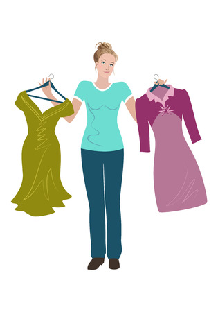 Beautiful young woman trying to choose between two dresses.