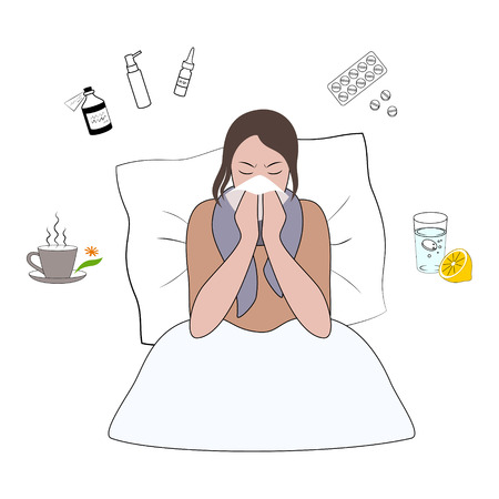 Flu cold or allergy symptom cartoon vector illustration.
