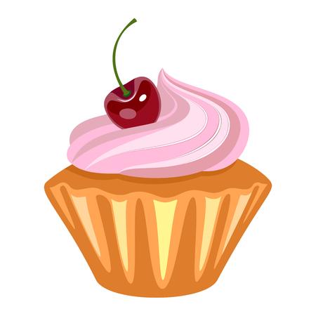 Cupcake With Whipped Vanilla Cream And Red Cherry.