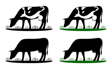 Cow grazing on meadow, cow silhouette in field eating grass. Vector cow icon or logo for farm store or market. Milk, dairy, farm product design element set. 스톡 콘텐츠 - 100683007