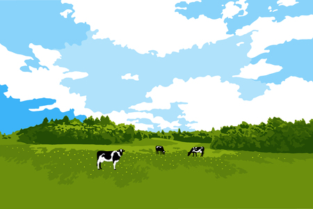 Cows grazing on meadow, cow silhouette in field eating grass.