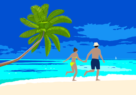 Happy honeymoon couple on the beach scene. Man and woman holding hands walking along the seashore, running on a sandy beach. Vector concept romantic vacation on honeymoon.