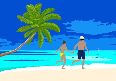 Happy honeymoon couple on the beach scene. Man and woman holding hands walking along the seashore, running on a sandy beach. Vector concept romantic vacation on honeymoon.