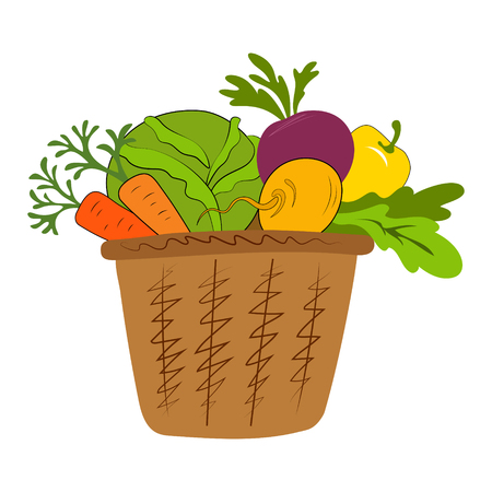 Fresh vegetables in basket isolated on white. Basket with vegetables cartoon vector illustration. Vetores