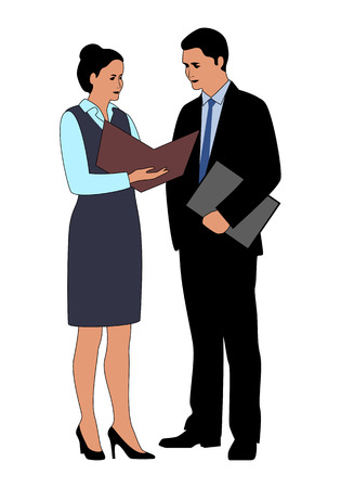 Business people communication icon. Businessman standing beside secretary reads the document. Business colleagues discussing about work at office. Vettoriali