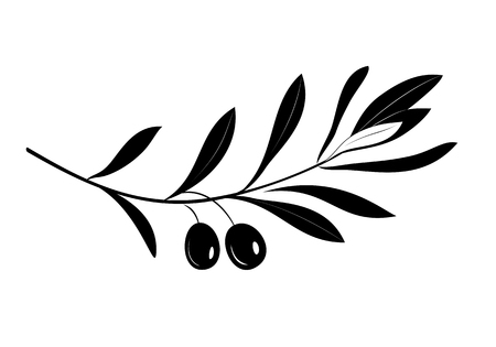 Olive oil label  for farm store or market. Olive branch with leaves and olives. Retro emblem organic olive oil silhouette vector illustration isolated on white background. Çizim