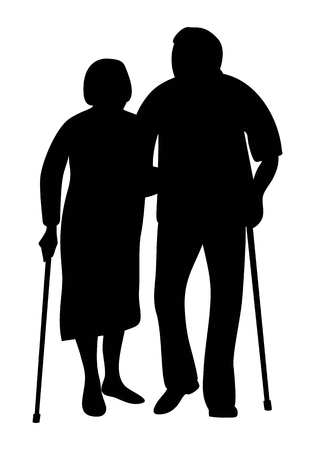 Elderly couple holding hands walking in the park silhouette. Grandfather and grandmother stand together leaning on a cane. Vector illustration.