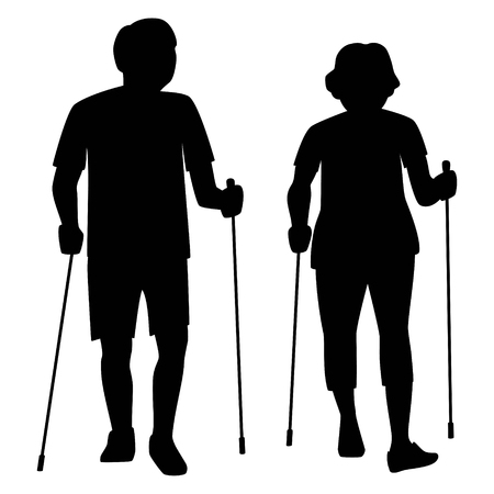 Senior couple do nordic walking in the park. Retirees with nordic sticks silhouette isolated vector illustration.