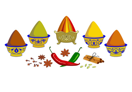 Composition of spices and herbs in copper bowls on the market. Assorted oriental spices - pepper, paprika, turmeric, curry, ginger, cardamom, cinnamon, chili, clove, saffron, anis. Banque d'images - 123344941