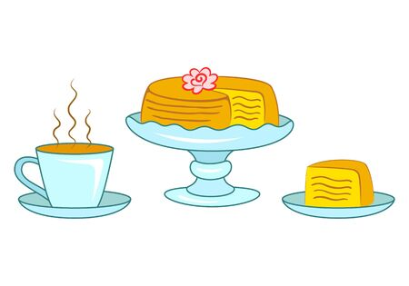 Layer cake on blue cake stand and slice of cake on the plate and cup of hot coffee or tea. Birthday cake decorated with cream rose. Sweet bakery and hot beverage vector illustration isolated on white. 일러스트