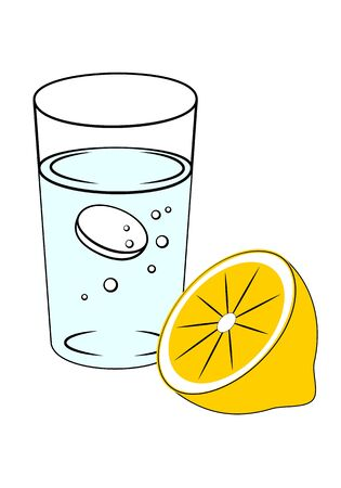 Dissolving tablet in glass of water and cut lemon. Concept of prevention of flu and colds.