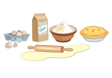 Ingredients for homemade bakery. Dough with rolling pin, eggs, flour and pie in platter. Bakery set vector illustration isolated on white background. Vector Illustratie