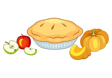 Holiday Pie. Apple And Pumpkin Pie On Plate Vector Illustration Isolated On White. Standard-Bild - 129818695