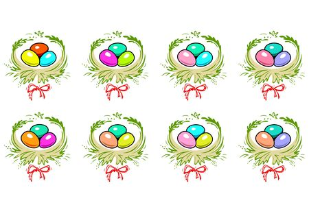 Colorful Easter Eggs In The Nest With Red Bow. Happy Easter Eggs Vector Illustration.