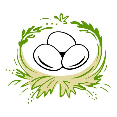 Easter Eggs In The Nest. Happy Easter Eggs Vector Illustration.