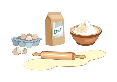 Ingredients for homemade bakery. Dough with rolling pin, eggs and flour. Bakery set vector illustration isolated on white background.