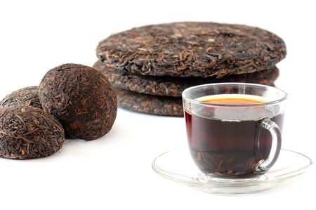 Strong Brewed Black Pu Erh Tea In Glass Cup. Traditional Chinese Raw Old Tea Pu Erh. Stock Photo