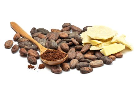 Raw cocoa beans, cocoa butter and spoon with cocoa powder. Chocolate ingredients isolated on white background.